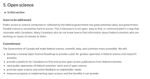 A screenshot showing a portion of Canada's 2018-2020 National Action Plan on  Open Government. The main issue addressed here is the difficulty for Canadians to access scientific research outputs: thus the commitments focus on making federal science, scientific data, and scientists themselves more accessible.
