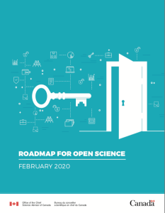 A screenshot of the cover of Canada's Roadmap for Open Science (Government of Canada, 2020)